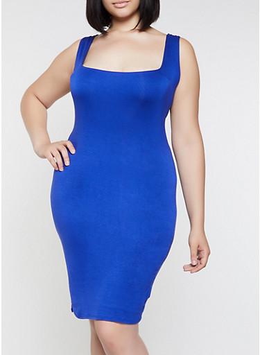 Plus Size Solid Midi Tank Dress | 0390058754431,RYL BLUE,large