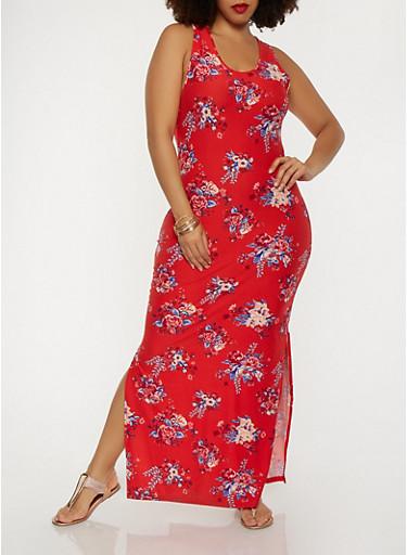 Plus Size Floral Tank Maxi Dress,ROSE,large