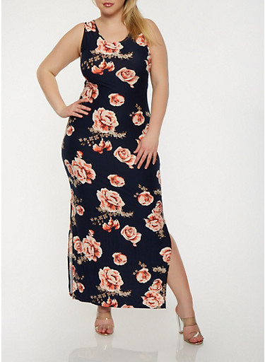 Plus Size Floral Tank Maxi Dress,NAVY,large