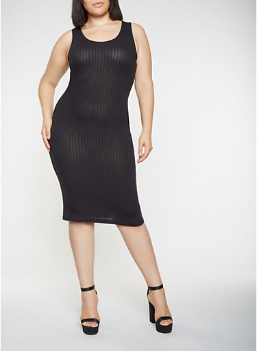Plus Size Midi Tank Dress,BLACK,large