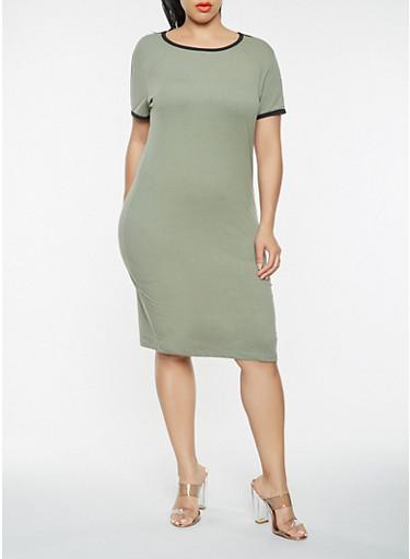 Plus Size Varsity Stripe T Shirt Dress,OLIVE,large
