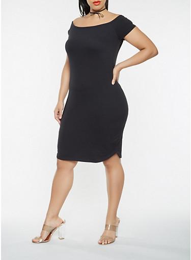 Plus Size Off the Shoulder T Shirt Dress,BLACK,large