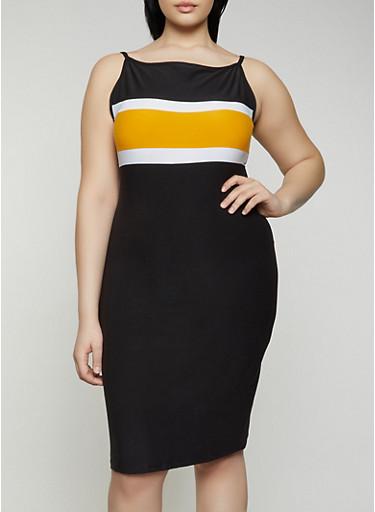 Plus Size Stripe Detail Cami Dress,BLACK,large
