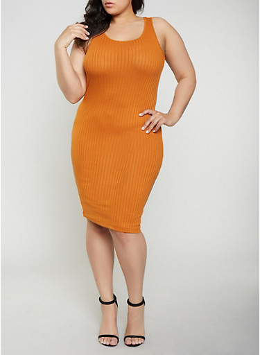 Plus Size Ribbed Knit Tank Dress   0390061639762,RUST,large