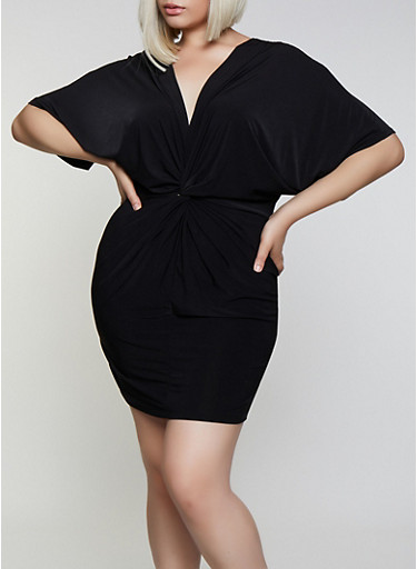 Plus Size Knot Front Bodycon Dress by Rainbow