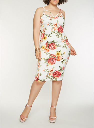 Plus Size Floral Midi Bodycon Dress,IVORY,large