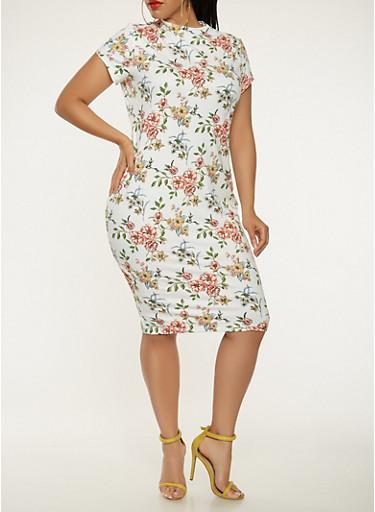 Plus Size Floral Midi Bodycon Dress,IVORY,large