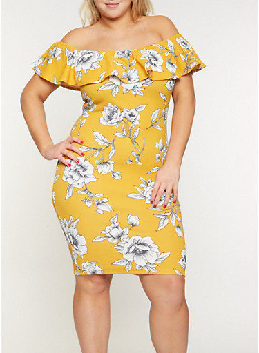 Plus Size Ruffled Off the Shoulder Printed Dress,MUSTARD,large