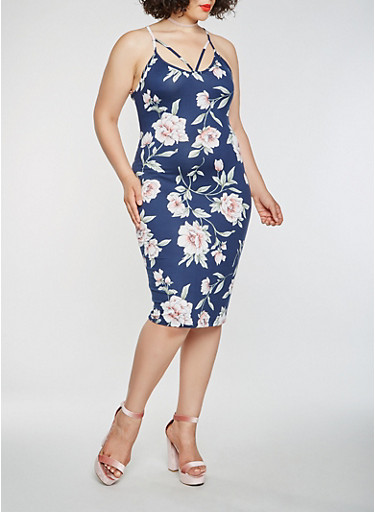 Plus Size Printed Bodycon Dress,NAVY,large
