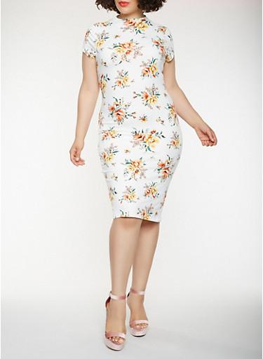 Plus Size Printed Midi Bodycon Dress,IVORY,large