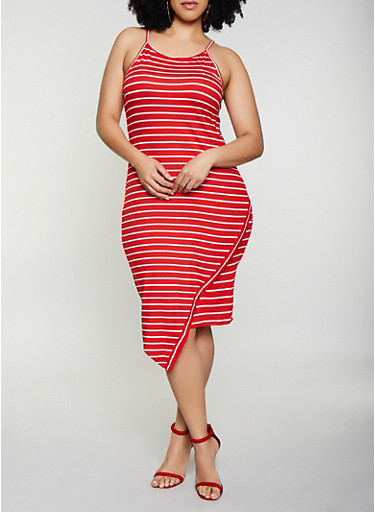 Plus Size Soft Knit Striped Cami Dress,RED,large