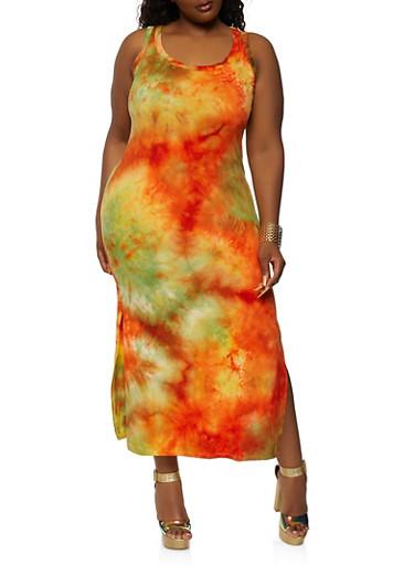 Plus Size Tie Dye Side Slit Dress,ORANGE,large