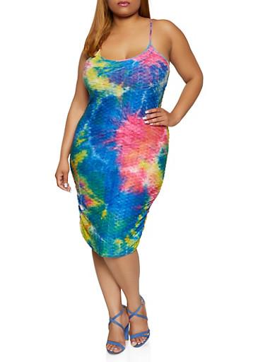 Plus Size Tie Dye Textured Knit Cami Dress,RYL BLUE,large