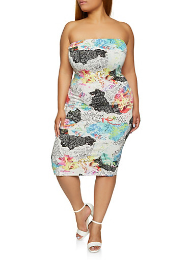 Plus Size Graffiti Newspaper Print Ruched Tube Dress,BLACK/WHITE,large