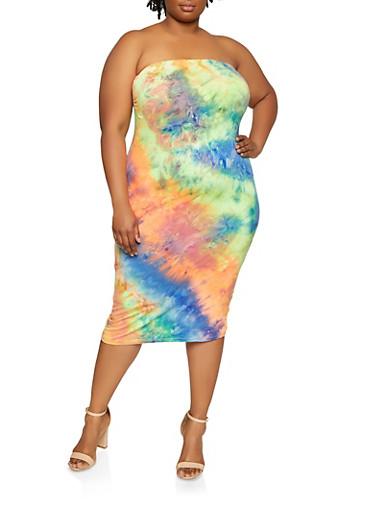 Plus Size Tie Dye Tube Dress,MULTI COLOR,large