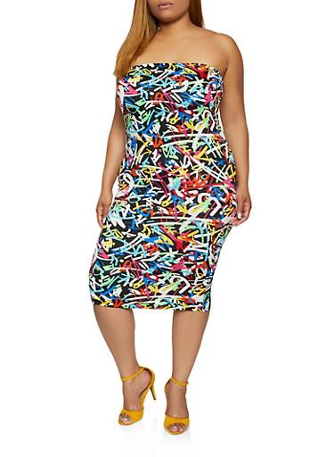 Plus Size Graffiti Print Tube Dress,BLACK,large