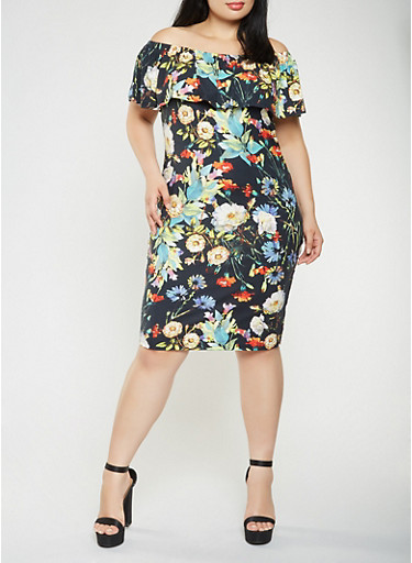 Plus Size Printed Off the Shoulder Midi Dress,BLACK,large
