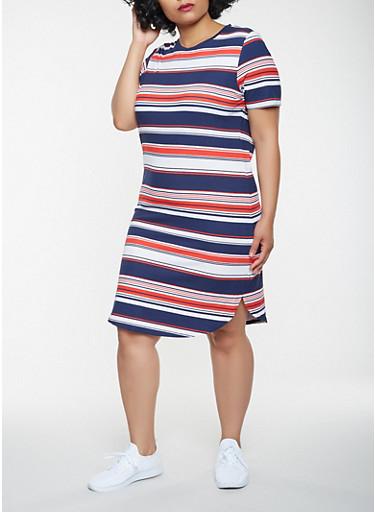 Plus Size Striped T Shirt Dress,WHITE/BLUE,large