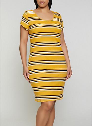 Plus Size Striped Soft Knit T Shirt Dress   0390073372301,MUSTARD,large