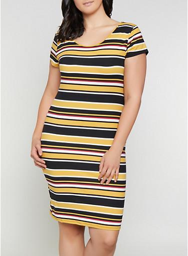 Plus Size Scoop Neck T Shirt Dress | 0390073372302,MUSTARD,large