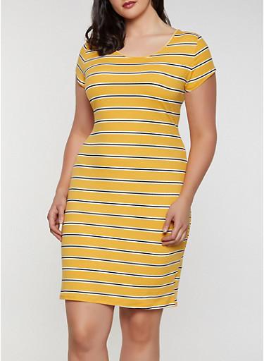 Plus Size Soft Knit T Shirt Dress | 0390073372304,MUSTARD,large