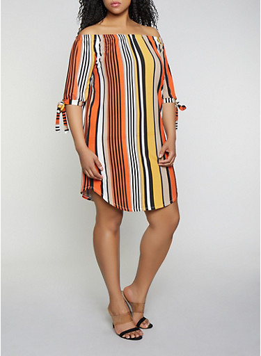 Plus Size Tie Sleeve Off the Shoulder Dress,RUST,large
