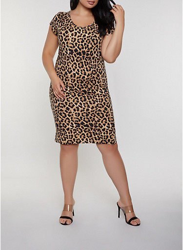 21efecc6198a Plus Size Leopard T Shirt Dress - Rainbow