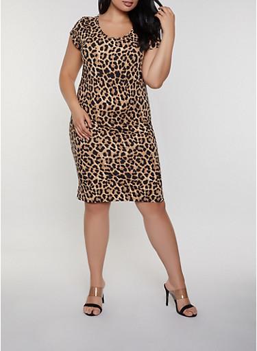 Plus Size Leopard T Shirt Dress,BLACK,large