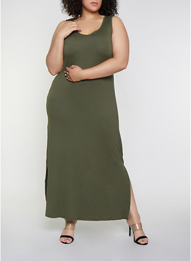 Plus Size Side Slit Tank Maxi Dress,OLIVE,large