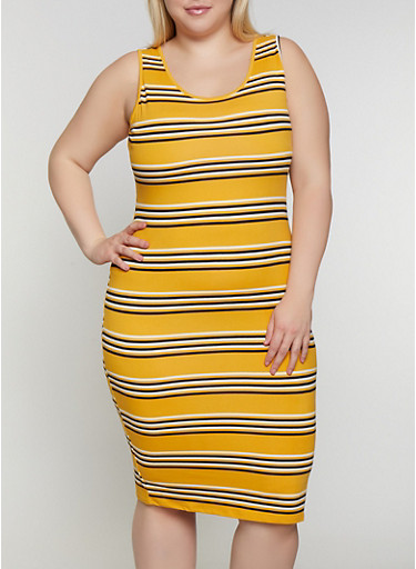 Plus Size Striped Tank Dress   0390073372901,MUSTARD,large
