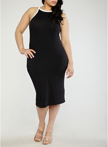 Plus Size Contrast Trim Midi Tank Dress,BLACK/WHITE,large