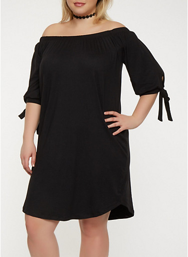 Plus Size Solid Off the Shoulder Dress,BLACK,large