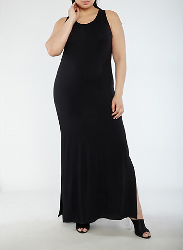 Plus Size Soft Knit Tank Maxi Dress,BLACK,large