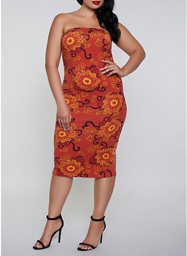Plus Size Soft Knit Printed Tube Dress,RUST,large