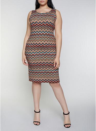 Plus Size Chevron Tank Dress,RUST,large