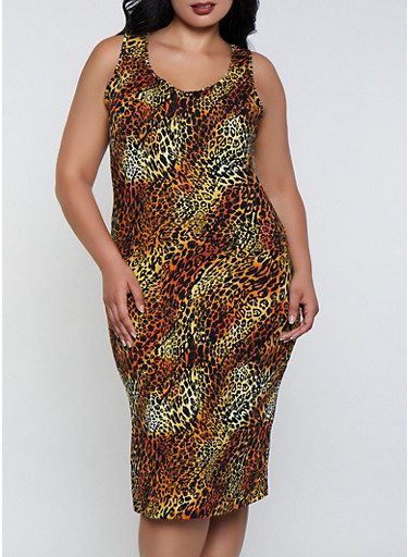 Plus Size Cheetah Print Tank Dress,RUST,large