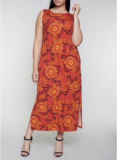 Plus Size Floral Soft Knit Tank Dress,RUST,large