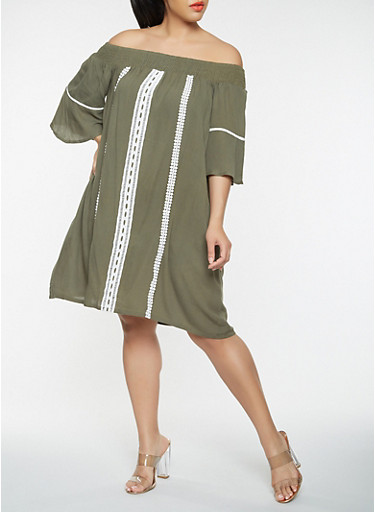 Plus Size Off the Shoulder Crochet Trim Dress,OLIVE,large