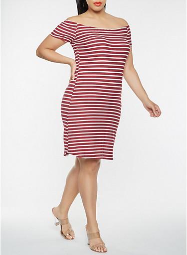 Plus Size Off the Shoulder Striped Dress,WINE,large