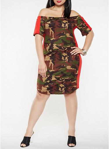 Plus Size Camo Off the Shoulder Dress,GREEN,large