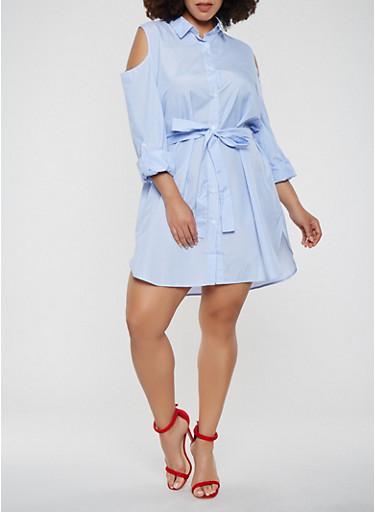 Plus Size Cold Shoulder Button Front Shirt Dress,WHITE/BLUE,large