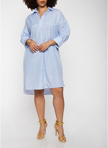 Plus Size Striped Shirt Dress with Sleeves,WHITE/BLUE,large