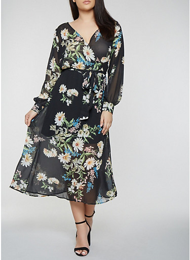 Plus Size Faux Wrap Maxi Dress with Long Sleeves,BLACK,large