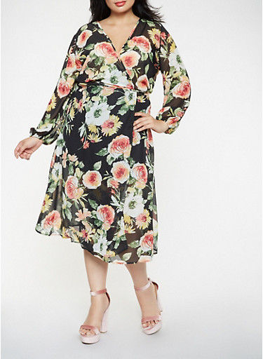 Plus Size Floral Wrap Midi Dress,BLACK,large