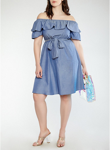 Plus Size Chambray Off The Shoulder Dress Rainbow