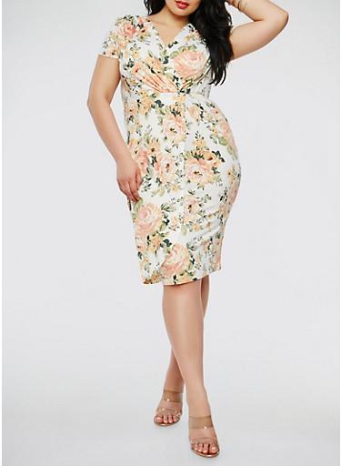 Plus Size Short Sleeve Floral Faux Wrap Dress,IVORY,large