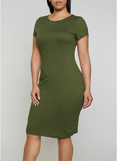 Plus Size Soft Knit Bodycon T Shirt Dress,OLIVE,large