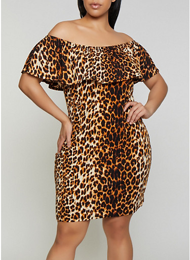Plus Size Leopard Off the Shoulder Bodycon Dress,BROWN,large