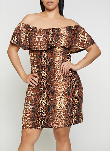 Plus Size Off the Shoulder Animal Print Dress,BROWN,large