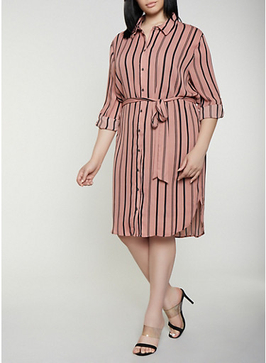 Plus Size Striped Shirt Dress | 0390074281187,MAUVE,large
